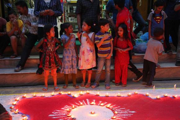 Children celebrating Nepal's constitution