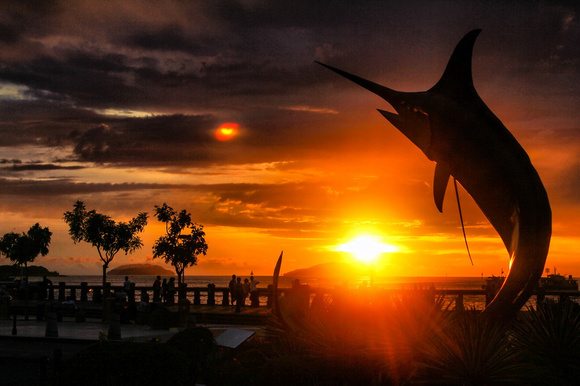 Swordfish statue sunset Kota Kinabalu