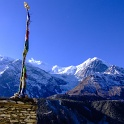 Prayer Flags over the Annapurna Mountains - Nepal
