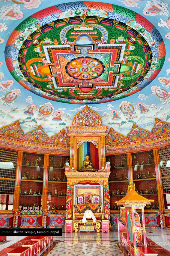 Interior of Tibetan Temple in Lumbini Nepal
