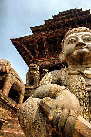 Nyatapola Temple Statue of Jaya mal Pata - famous wrestler in Nepal