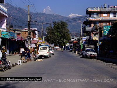 Main road in Lakeside Pokhara