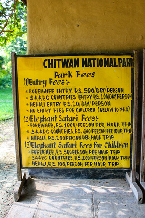 Entrance fees into Chitwan National Park