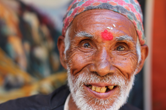 Old man smiling in Bhaktapur
