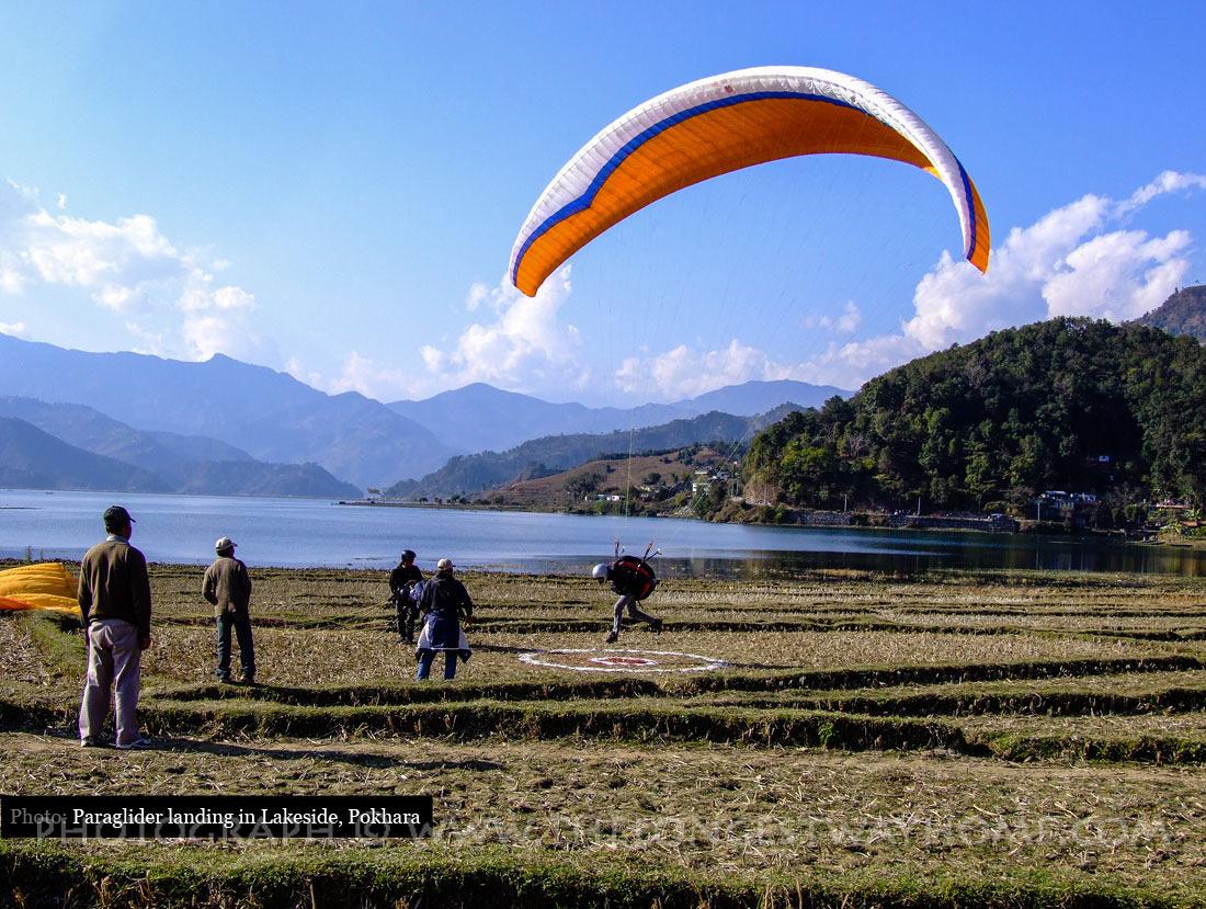 Paraglider landing near Phewa Tal-Lake, Pokhara