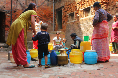 Women collecting water on the backstreets of Bhaktapur
