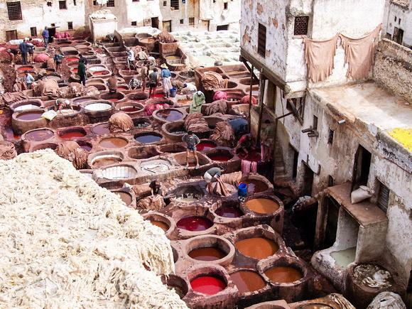 Dye pits in Fez, Morocco
