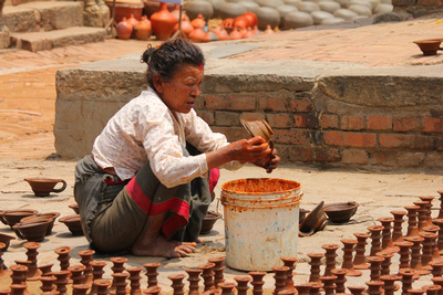 Woman in Bhaktapur Pottery square