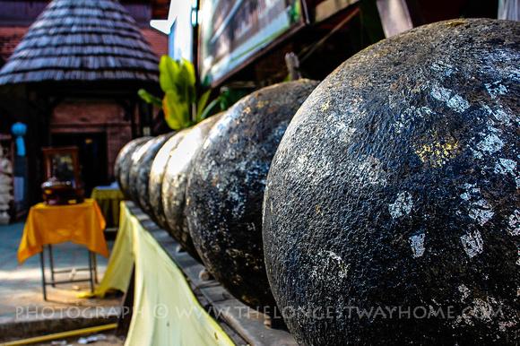 Stone balls at Wat Jetlin