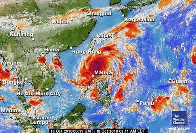 Satellite image of Typhoon Megi