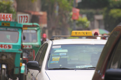 Taxi in traffic in the Philippines