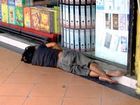 Homeless people in touristy Kota Kinabalu