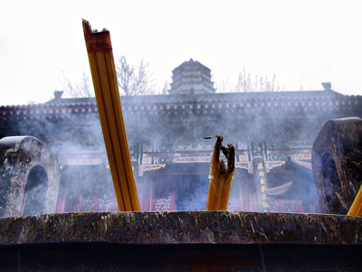Incense burning in a Chinese Temple
