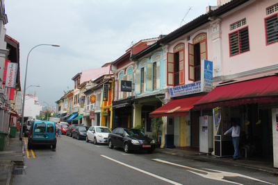 Singapore's quaint all buildings and road