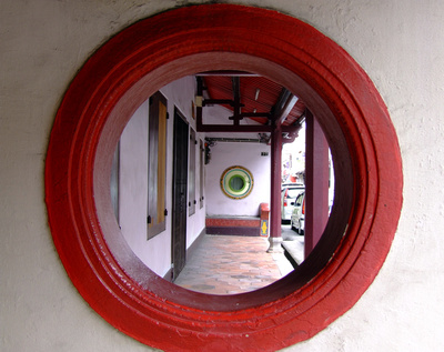 Circular Chinese window in Malacca