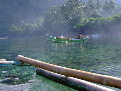 Misty waters on a tropical Island in the Philippines
