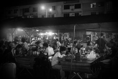 People eating at the night market in Kota Kinabalu