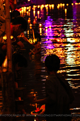 Watching people place Krathong's into the river
