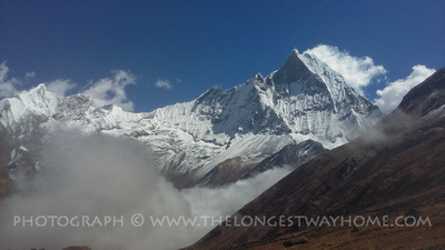 Trekking from Machhapuchhre base camp into Annapurna Base Camp