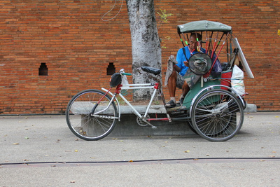 A rare bicycle rickshaw in Thailand