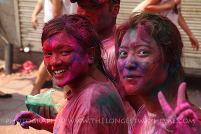Nepali girls celebrating holi