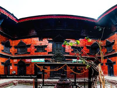 The Kumari Ghar inner courtyard in Kathmandu Durbar Square