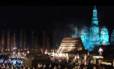Sukhothai's temples lit up in colorful lights during Loy Krathong