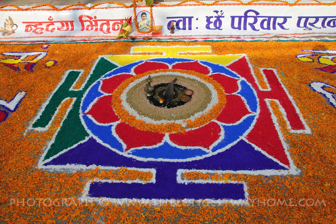 Huge rangoli to celebrate Sambat (Newari New Year) in Nepal