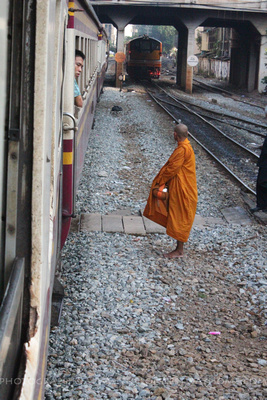 Train and Monk waiting