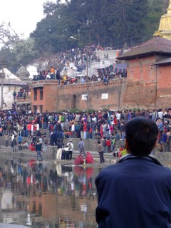 Looking on at the crowds entering Pashupatinath