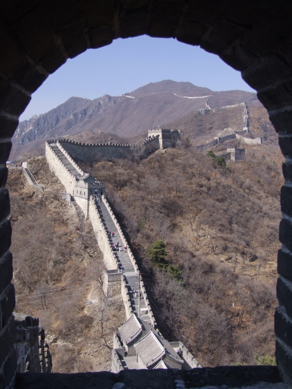View of The Great Wall of China from a tower window (click to enlarge)