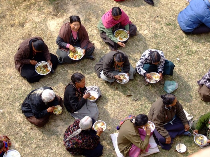 Celebrating new years day with a feast in Nepal (click to enlarge)