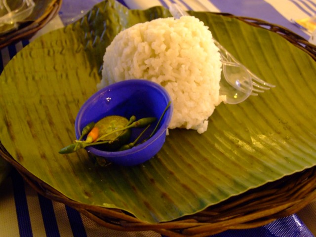 Bowl shaped serving of rice