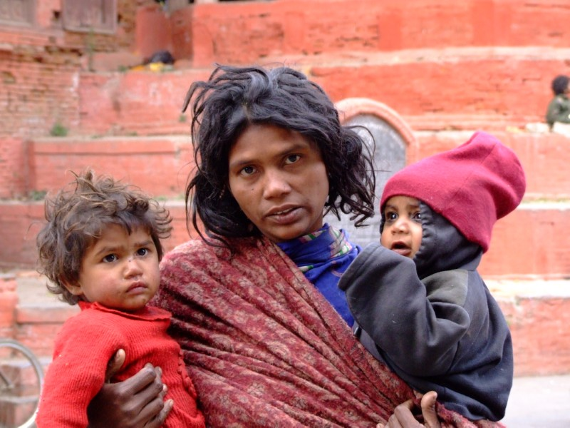 Mother begging with her Children, Durbar Square, Nepal (click to enlarge)