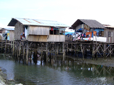 Squatter houses on stilts in Davao City