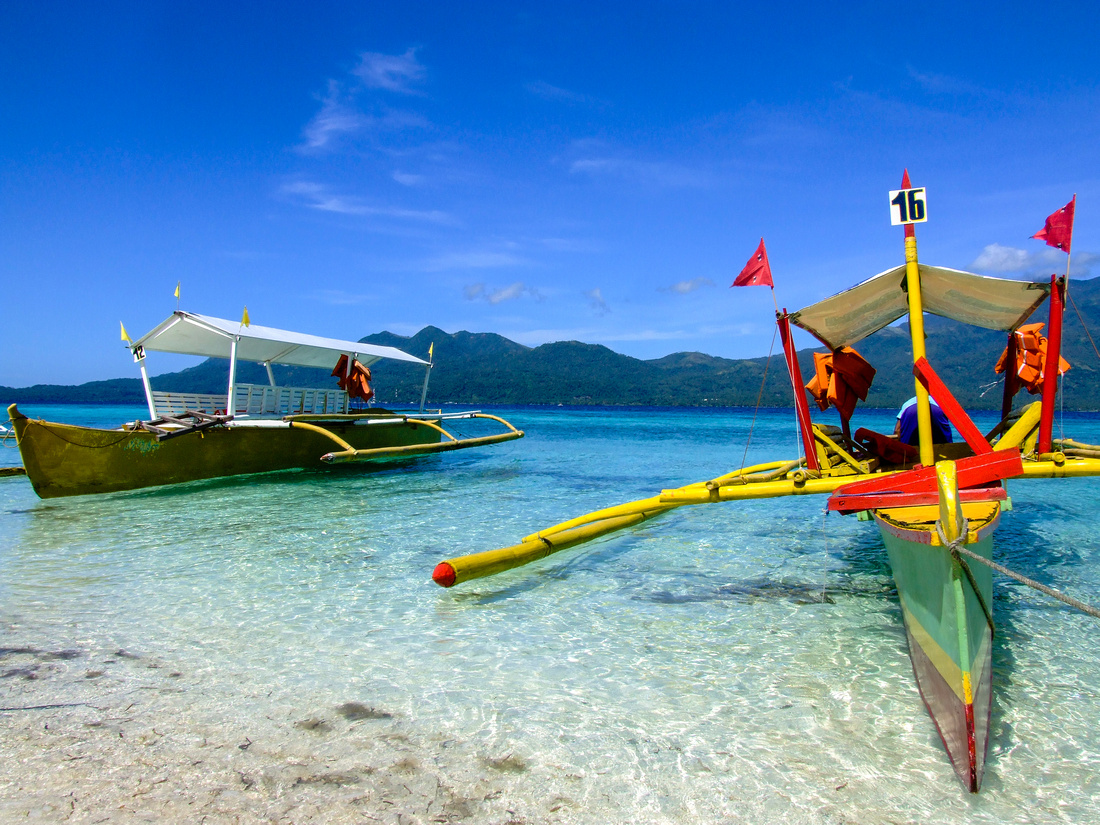 Colorful boats of an island in The Philippines