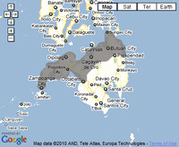 Map of blackouts in Mindanao