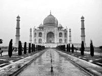 Black & White photograph of the Taj Mahal