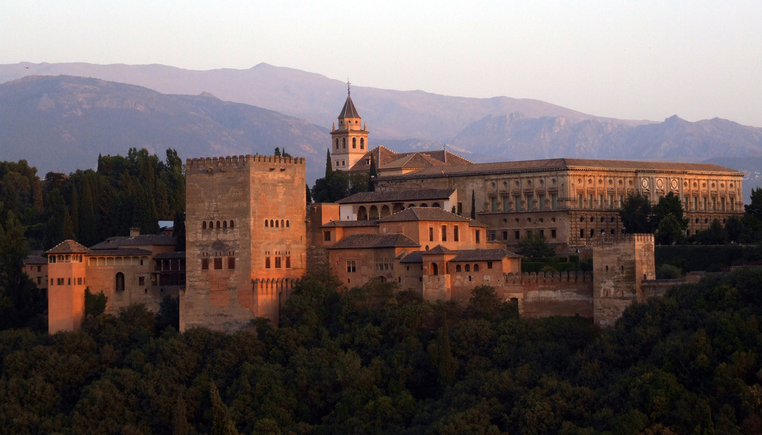 The Alhambra in Spain at Sunset