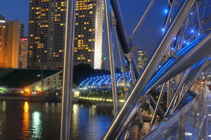 Singapore helix bridge and skyline