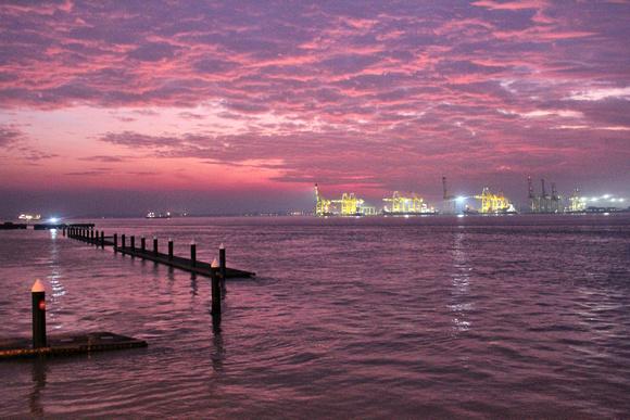 Pink sunrise in Penang, Malaysia