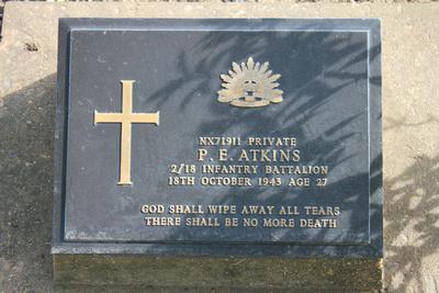 Tombstone of P.E. Atkins Kanchanaburi, Thailand