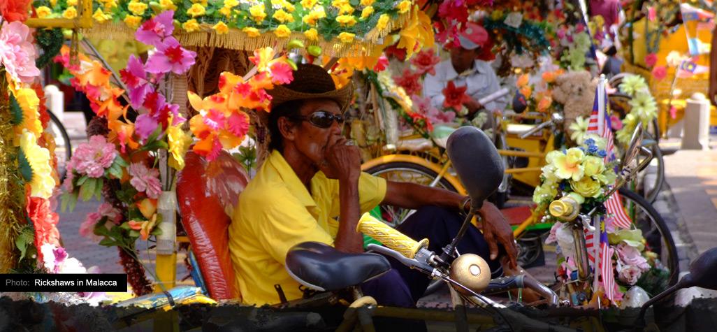 Colorful rickshaws in Malaka Malaysia
