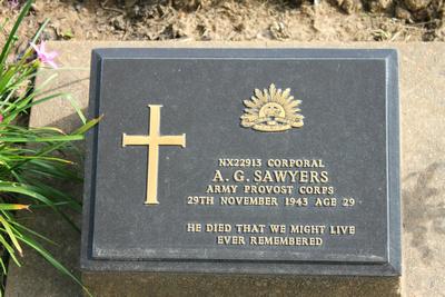 Tombstone of A.G. Sawyer Kanchanaburi, Thailand