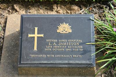 Tombstone of L.A. Jamieson Kanchanaburi, Thailand