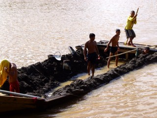 A Full river mining barge in The Philippines