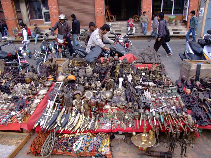 Masses of trinkets and items for sale, Kathmandu, Nepal (click to enlarge)