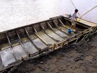 River mining barge