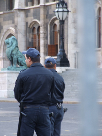 Hungarian Police guarding Parliament