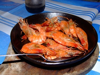 A plate of sizziling Shrimps from the Philippines